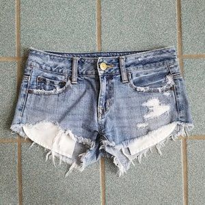 American Eagle Cutoff Ripped Low Rise Denim Shorts